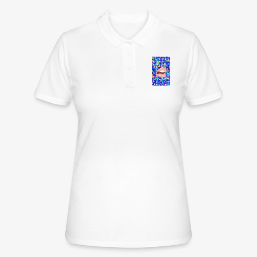 80s background pattern with mouth 2 - Women's Polo Shirt