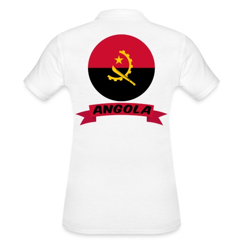 flag of Angola t shirt design ribbon banner - Women's Polo Shirt