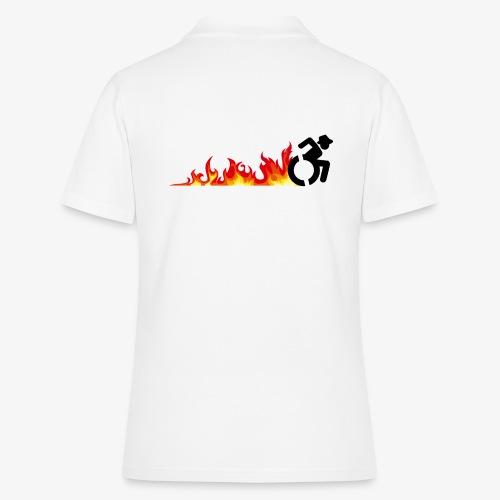 Snelle rolstoel gebruiker, vuur banden, roller 002 - Women's Polo Shirt