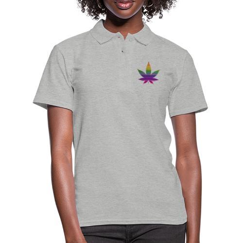 Weedblatt Design mit farbenfrohem Hintergrund - Frauen Polo Shirt