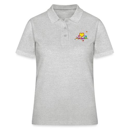 Blumengruß mit Herz - Frauen Polo Shirt