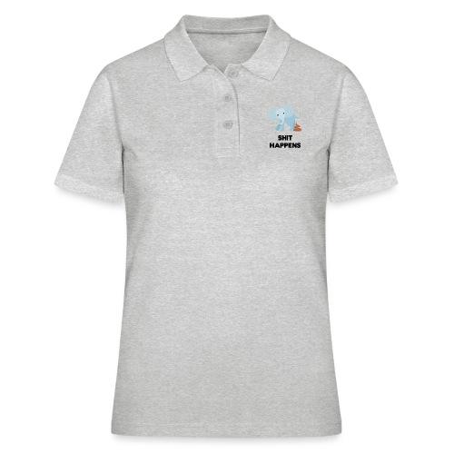olifant met drol shit happens poep schaamte - Women's Polo Shirt
