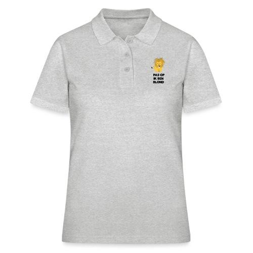 Pas op ik ben blond een cartoon van blonde leeuw - Women's Polo Shirt