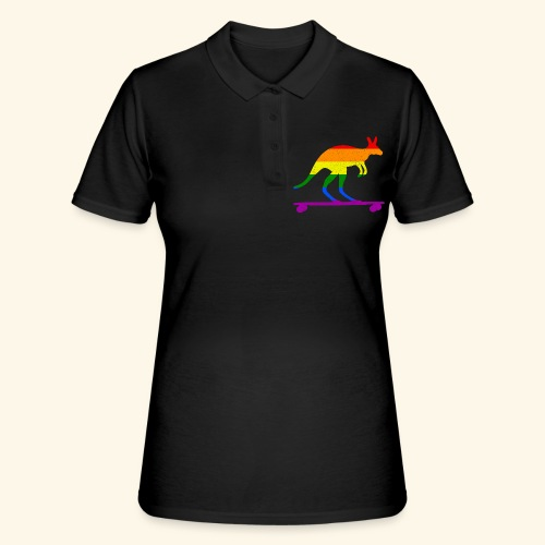 Skater Känguru Longboard Skateboard Regenbogenfahn - Frauen Polo Shirt