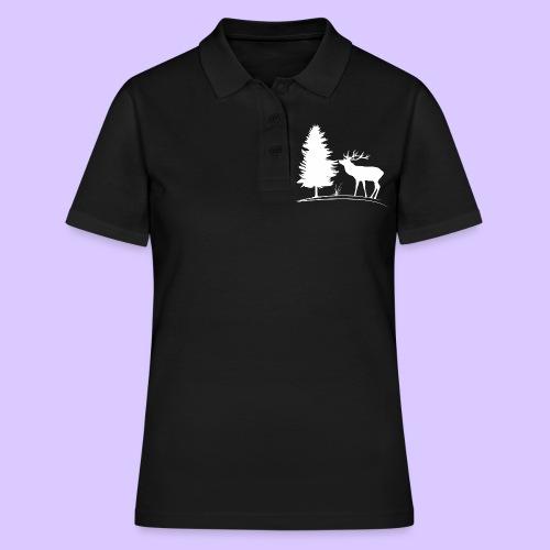 Hirsch, Geweih, Rehbock, Jagd, Wald, Baum, Wild - Frauen Polo Shirt