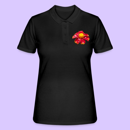 rote Ringelblume mit Regentropfen, Blume, Blüte - Frauen Polo Shirt