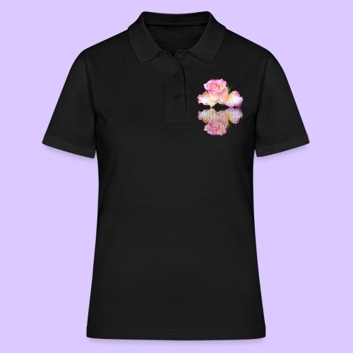 pinke Rose mit Regentropfen im Spiegel, rosa Rosen - Frauen Polo Shirt