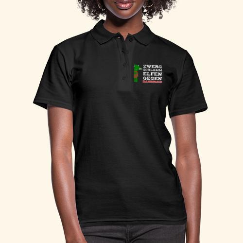 Zwergschlammelfen gegen Rassismus (weiße Schrift) - Frauen Polo Shirt