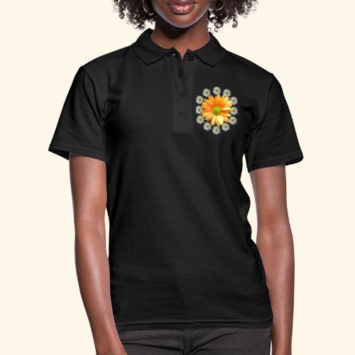 Margeriten mit einer orangen Chrysantheme, Blumen - Frauen Polo Shirt