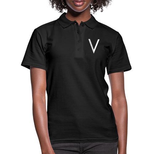 White Logo - Black Tee - Women's Polo Shirt