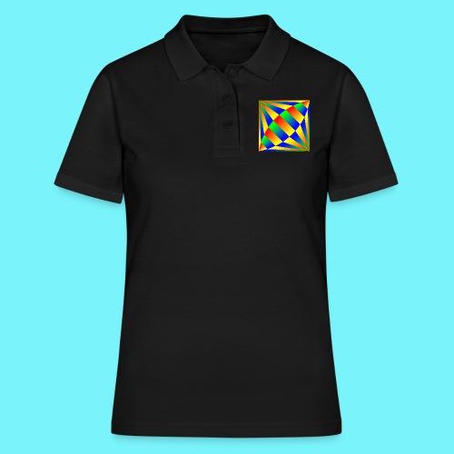 Giant cufflink design in blue, green, red, yellow. - Women's Polo Shirt