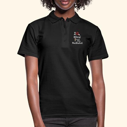 I love Red wine & my Husband Couples Pairs Wedding - Women's Polo Shirt