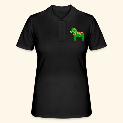 Grön dalahäst - Pikétröja dam