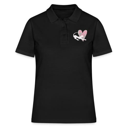 Vit katt rosa hjärta prickar - Women's Polo Shirt