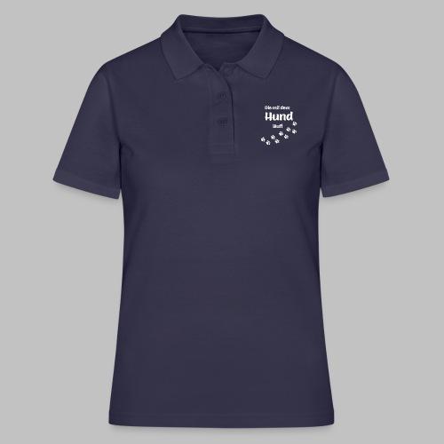 DIE MIT DEM HUND LÄUFT - Hundepfoten Pfotenabdruck - Frauen Polo Shirt
