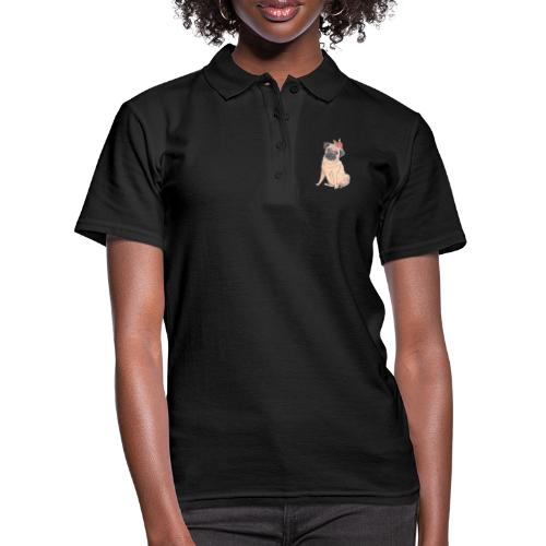 Pug with flower - Women's Polo Shirt