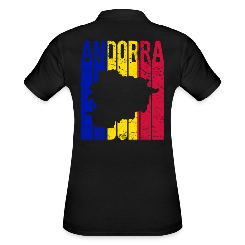 stretched flag of Andorra t-shirt design map - Women's Polo Shirt