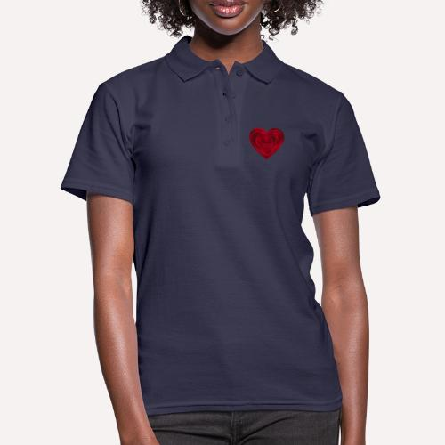 Love Heart Print T-shirt design - Women's Polo Shirt