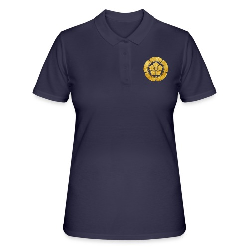 Oda Mon Japanese samurai clan faux gold on black - Women's Polo Shirt