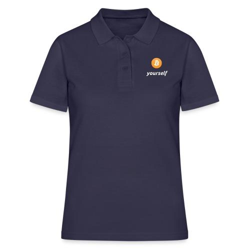 cryptocool b yourself white font -bitcoin logo - Women's Polo Shirt