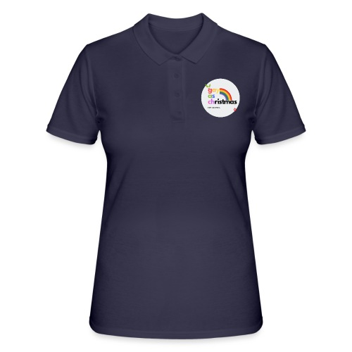 Gay as Christmas but Minimal Circle with Rainbow - Women's Polo Shirt