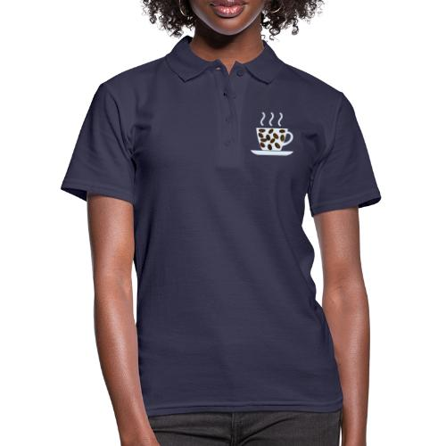 grey cup cofee with beans - Women's Polo Shirt