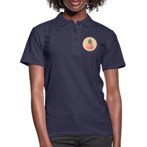 Flat 3 Leaf Potted Plant Motif Round - Women's Polo Shirt