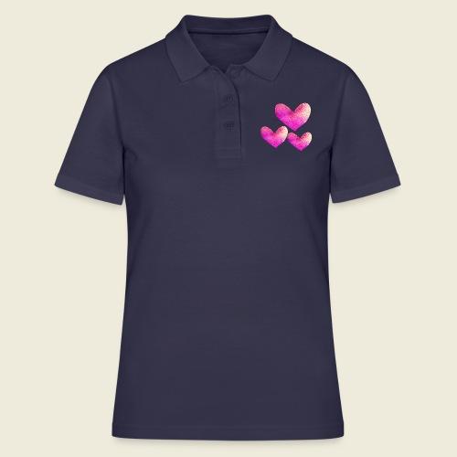 Drei pinke Herzen voller Liebe - Frauen Polo Shirt