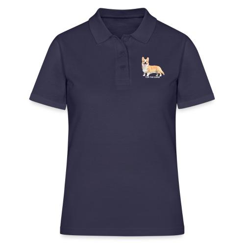 Topi the Corgi - White text - Women's Polo Shirt