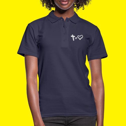 Cross = Heart WHITE // Cross = Love WHITE - Women's Polo Shirt