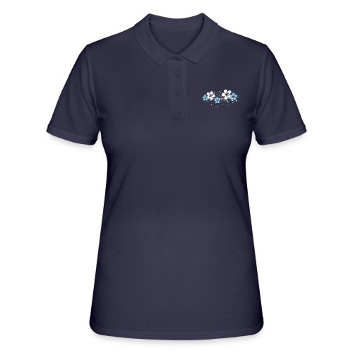 white and blue floral print - Women's Polo Shirt