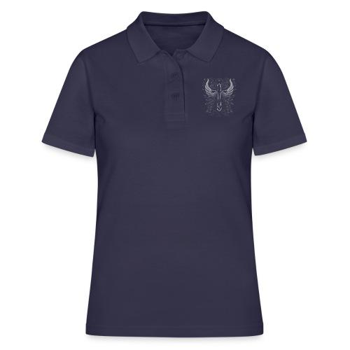 Kreuz mit Flügel und Blumen Verzierung - Frauen Polo Shirt