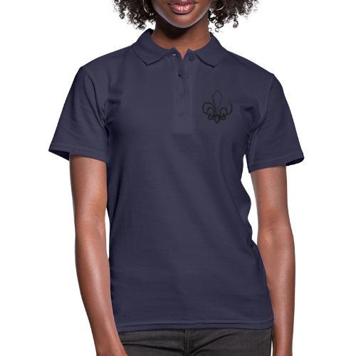 Pinselzeichnung Lilie – Schwarz - Frauen Polo Shirt