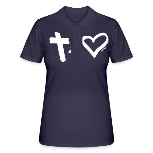 Cross = Heart WHITE // Cross = Love WHITE - Women's Polo Shirt