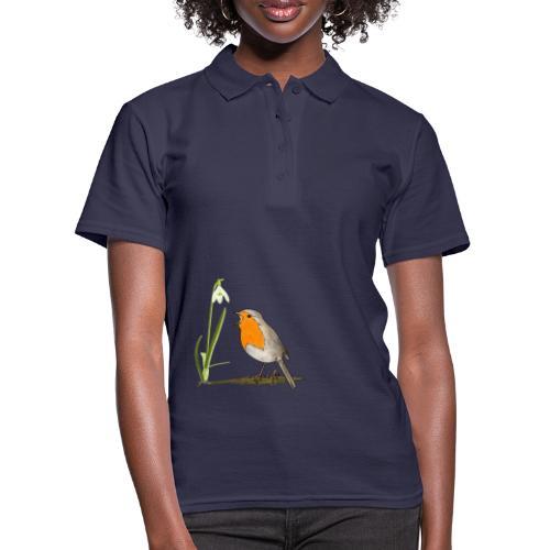 Frühling, Rotkehlchen, Schneeglöckchen - Frauen Polo Shirt