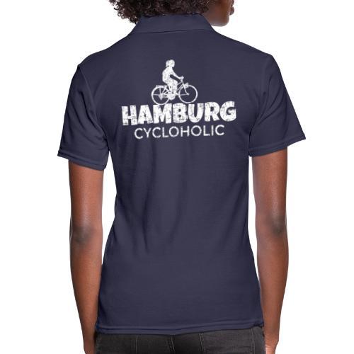 Hamburg Cycloholic (Vintage/Weiß) Fahrradfahrerin - Frauen Polo Shirt