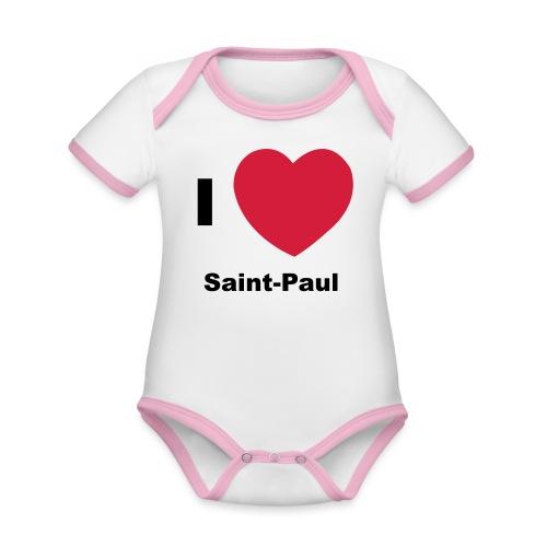 i love sainte paul - Body Bébé bio contrasté manches courtes