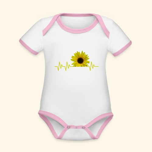 sunflowerbeat - zauberhafte Sonnenblume - Baby Bio-Kurzarm-Kontrastbody