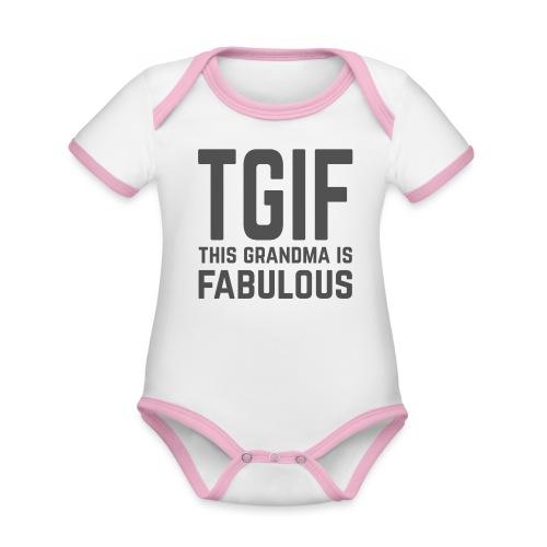To jest wspaniała babcia - Ekologiczne body niemowlęce z krótkim rękawem i kontrastowymi lamówkami