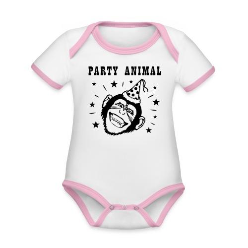 Party Monkey - Baby contrasterend bio-rompertje met korte mouwen