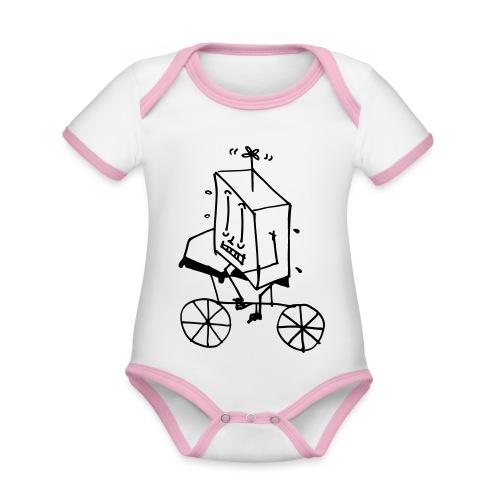 coso bici - Body da neonato a manica corta, ecologico e in contrasto cromatico