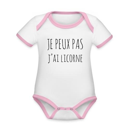 Je peux pas j'ai Licorne - Body Bébé bio contrasté manches courtes