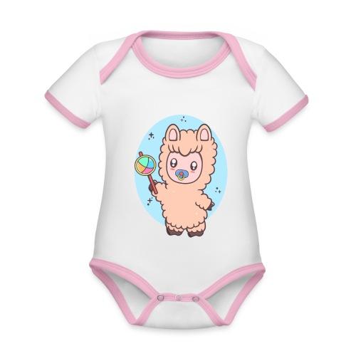Baby Llama - Kortærmet økologisk babybody i kontrastfarver