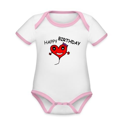 Herz Smiley Geburtstag - Baby Bio-Kurzarm-Kontrastbody