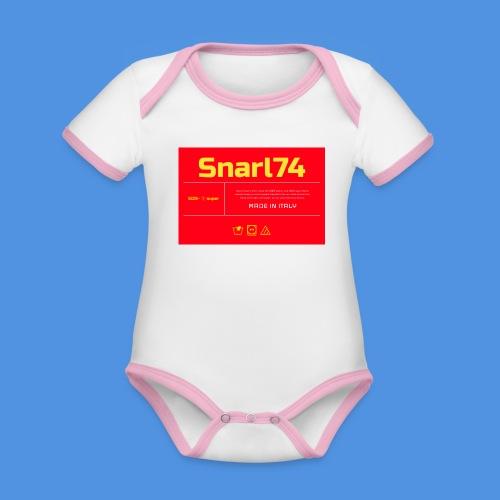 Etichetta two - Body da neonato a manica corta, ecologico e in contrasto cromatico