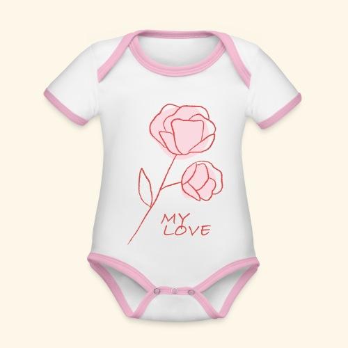 Rose My Love - Mon Amour - Saint valentin - Body Bébé bio contrasté manches courtes