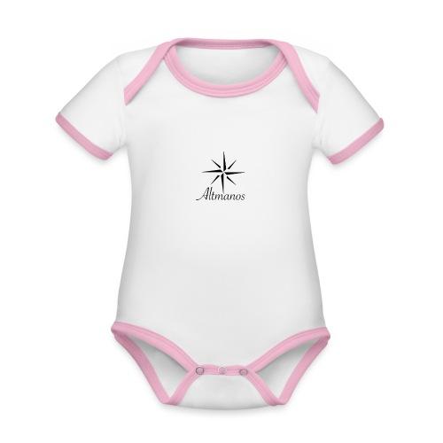 0DDEE8A2 53A5 4D17 925B 36896CF99842 - Baby contrasterend bio-rompertje met korte mouwen