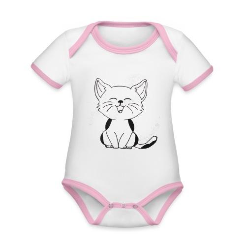 kitten - Baby contrasterend bio-rompertje met korte mouwen