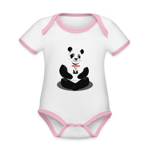 panda hd - Body Bébé bio contrasté manches courtes
