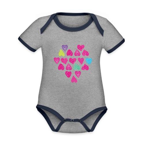 I love you Herz aus Herzen mit Doodle Textur - Baby Bio-Kurzarm-Kontrastbody